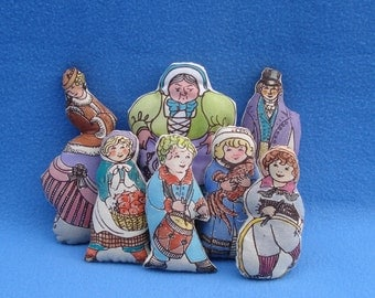 7 Vintage Fabric Stuffed Period Pillow Doll Figures with 3 Blind Mice Theme