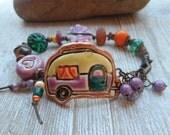 Vintage trailer charming Glamping bracelet cuff bracelet artisan made pottery beads