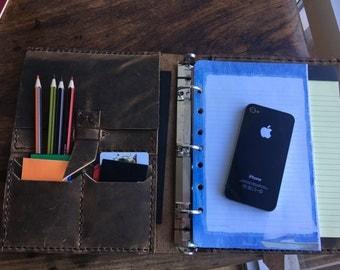 A5 Leather Portfolio Binder, Custom Leather Binders, A5 Notepad Cover Notebook, Custom Binders, 5.5 x 8.5 Handmade Leather Binder