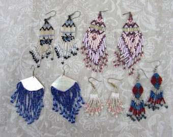 """Beaded pierced dangle earrings - 5 pair lot boho hippie 2.5"""" - 4.25"""" - 1970s"""