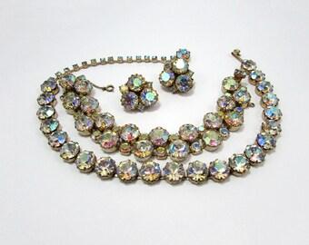 Fenichel AB Crystal Parure Necklace Bracelet Clip Earrings - 1950s Hollywood Glam