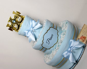Baby Diaper Cake Prince King Boys Blues Black Gold OR Silver Shower Gift Centerpiece