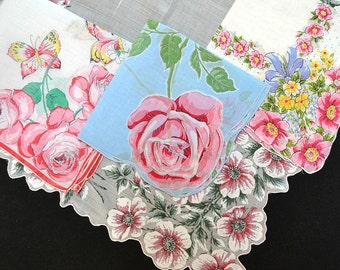 VINTAGE HANKIE ASSORTMENT Mid-Century Red Roses Blue Red Pink White Yellow Bows Corded Edge Hand Rolled Hem Very Good to Excellent Condition