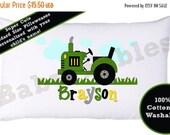 ON SALE Personalized Pillow case, John Deer Tractor, Green Tractor, Little Boy's Room, Room Decor, Farmer Pillowcase, Child's Pillowcase, Bo