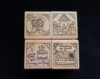 Rubber Stamps - Thank you - Thinking of You- For You - Happy Birthday -  WM rubber stamp  (set of 4)