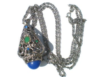 Victorian Revival Necklace Fob Pendant with Rhinestones and Blue and Green Faux Stones on Silver Tone Double Strand - Vintage Jewelry