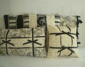 Set of 5 Pillow Covers Black White  LIMITED EDITION mix match Velvet Damask Piping and Ribbon Bows