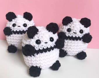 Mini Panda Plushie - Cute Crochet Panda Bear - Kawaii Amigurumi Panda Teddy Bear