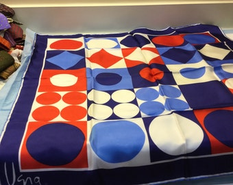 Vintage VERA Scarf VERA NEUMANN Scarf Square Silk Scarf Red, White, Blue, Polka Dots, Color Block Japan