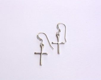Cross Charm Earrings, Sterling Silver, Ready to Ship