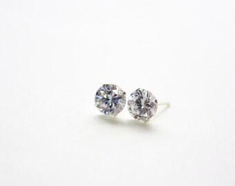 7mm CZ Stud Earrings, Sterling Silver Bracket Post, Stud Earrings 7mm Crystals, Ready to Ship