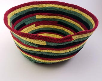"Rasta Colors Fabric Basket, Made to Order, Coiled Rope Style, 9"" Diameter, Upcycled, Eco Friendly Boho Hippie Unique Gift"