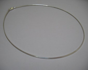 16 Inch Sterling Silver Omega Neck Wire, Lobster Claw Clasp