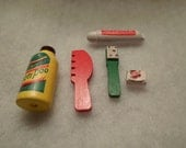 DOLLHOUSE BATHROOM TOILETRIES / Shampoo / Toothpaste / Toothbrush / Comb / Soap / Barbie / Doll / Diorama / Shadowbox / Accessories / Lot