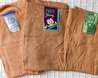 3 pair New Old Stock 100% Cotton Stockings Hosiery Size 9.1/2 - 10.1/2  NOS  Lot 3  OJ2