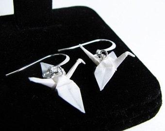 "Winter Sale Origami Crane earrings Miniature 3/4""   - Pure White Paper Crane Earrings Solid Color"