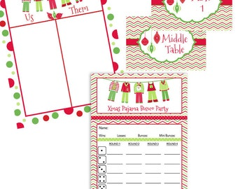 Christmas Pajama Bunco Party Score Card Cute Xmas Pajamas, Christmas Ornaments- Table Markers- Table Numbers- Tally Sheet-Instant Download