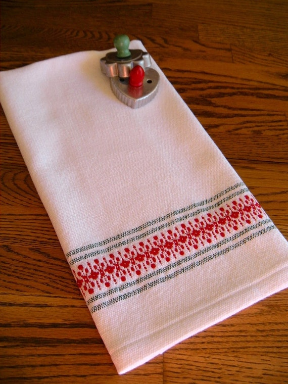 Christmas Kitchen Towel Holiday Handwoven By