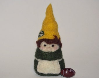 G is for Gnome - Needle Felted Lady Gnome - Football Mascot