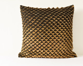 Stunning Black and Gold Fish Scale Pillow Cover , Textured Fish Scale Cushion Cover, Fish Scale Pillow In Black, Textured Decor Pillow