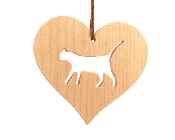 Wood cat ornament wooden heart shaped pet christmas