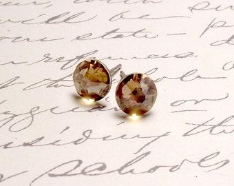 Gold Swarovski Crystal Post Stud Earrings. Simple Sparkling Earrings.
