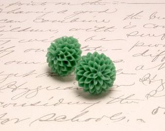 Grass Green Dahlia Flower Earrings. Large Mum Floral Post Stud Earrings.