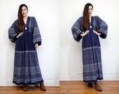 Vintage  London Mob Carnaby Floral Gypsy Folk Cotton Dress Boho Dress Hippie Dress Ethnic Kimono Kaftan Cotton Dress 70s