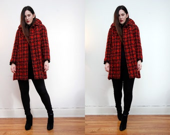Vintage Tartan Plaid Swing Cape Wool Dress Coat 80's