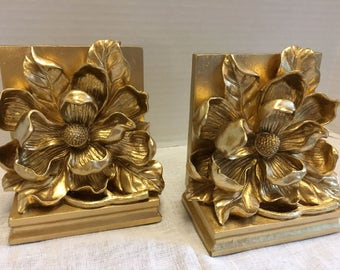 Vintage Set of Gold Floral Magnolia Bookends