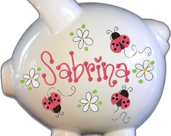 Personalized Piggy Bank with Ladybugs Red Design   White   red   Large   Baby Gift   Free Shipping