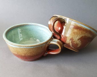 Set of 2 or 4 Handled Deep Sides Soup and Cereal Bowls Chowder Mug Handles Rust Red Green