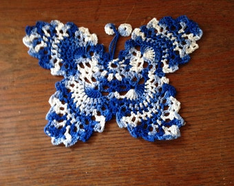 Butterfly blue shaded crochet bookmark applique doilies