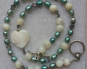 Asymmetrical Mother Of Pearl Heart Necklace With Swarovski Crystals, Fresh Water Pearls, And Sterling Silver //  Lovely Gift For Her