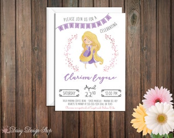 Baby Shower Invitation - Princess Rapunzel and Laurel in Watercolor Style - Tangled Princess