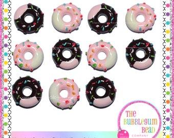 14mm DOUGNUTS WITH ICING, Qty 2, Flatback Cabochon, Flatback Resin, Decoden, Phone Decor, Japanese Cabochon, Scrapbook, Bow Embellishment