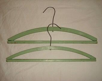 Vintage Wooden Hangers. Set of 2 Green Painted Wood Clothes Hangers.  Old Painted Hangers Shabby Farmhouse Cottage Decorating Display