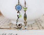 RESERVED for Janice** Green Asymmetrical Earrings Blue Floral earrings Garden earrings Rustic earrings mismatched earrings - Breezy