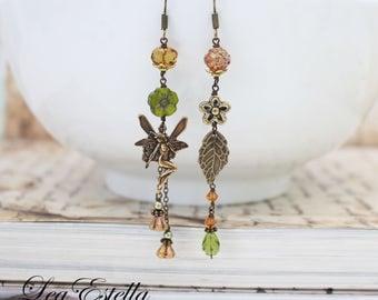 Fairy earrings Woodland earrings Asymmetrical earrings Forest earrings Green Rustic earrings Boho earrings Earthy earrings - Woodland Fairy
