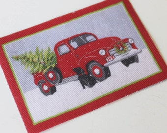 Dollhouse Miniature 1:12 Scale Rug Black Dog by Red Truck With Christmas Tree