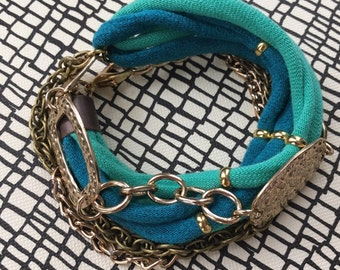Turquoise and Gold MultiChain Choker OR Wrap Bracelet-2 in 1