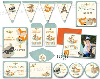 Woodland Invitation Woodland Birthday Invitation Woodland first birthday invitation Woodland 1st Birthday invitation Fox invitation Deer