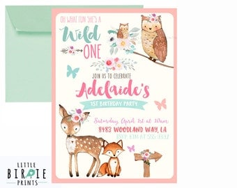 GIRL WOODLAND INVITATION Woodland First Birthday Invitation Pink Woodland animals invitation Boho Flowers Wild One Birthday Deer Fox Owl