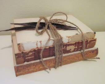Rustic Unbound Books // Three Vintage Books Tied with Jute Twine, Urban, Rustic Decor