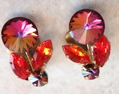 Red Rivoli Earrings Clip On Gold Tone Made Austria Vintage 101913SB