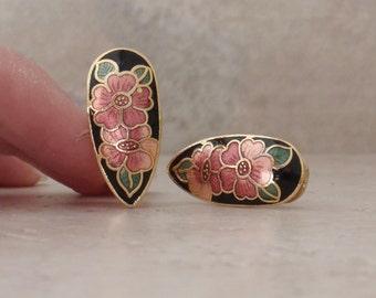 Cloisonne Earrings Black Pink Floral Enamel Omega Clips Pierced Vintage V0998L