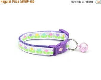 ON SALE Floral Cat Collar - Pastel Spring Blossoms - Small Cat / Kitten Size or Large Size