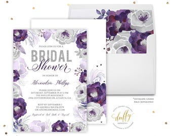 Bridal Shower Invitations Purple, Bridal Shower Invitation, Bridal Shower Invite, Bridal Shower Invitation Floral, Bridal Shower Invites