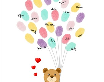 Teddy Bear Fingerprint Guest Book Personalized Thumbprint Guestbook for the Birthday, Baby Shower, Baby Girl - DIGITAL PRINTABLE JPEG