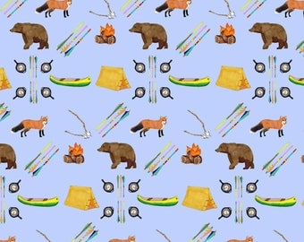 Summer Camp Wrapping Paper 20 x 29 inches // Fox // Bear // Canoe // Arrow// Fun Gift Wrap Children Summer